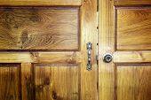 stock photo of door  - Old door lock door locks doors Teak - JPG