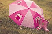 Pink Umbrella and Boots
