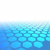 Hexagon Tile Perspective Blue Background