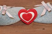 Two Vintage Kissing Slippers And Red White Heart