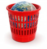 garbage basket with Globe (clipping path included)