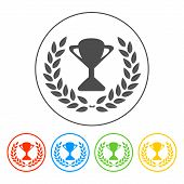 Trophy And Awards Icon On White Background. Vector Illustration.