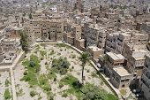 Aerial view of the Sanaa city, Sanaa, Yemen.