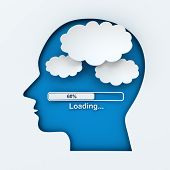 Human head with loading bar and thought bubbles with copyspace