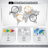 Website template infographics with map