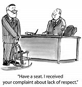 image of respect  - The boss offers a tiny seat to the businessman who complained about the boss - JPG