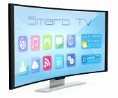 picture of curves  - one curved smart tv with apps screen  - JPG