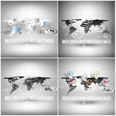 Set of world maps in perspective, infographic vector templates for business design