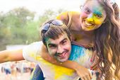 Couple On Holi Color Festival