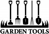 foto of tool  - landscaping black icon with set garden tools - JPG
