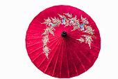 paper umbrella isolated in white background
