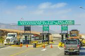 PERU, MAY 21, 2014: toll on road from Pan-American Highway to Arequipa