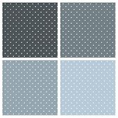 Blue background vector set with tile white polka dots