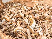 pic of porcini  - dried mixed porcini mushrooms in wicker bowl - JPG