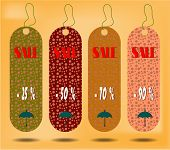 Three hanging tags with text Sale , tags made from dotted patterns