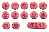 Set Of Red Wooden Round Buttons, Vector Game Icons