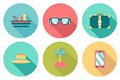 Round Travel Flat Colour Icons With Shadow