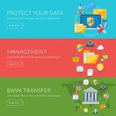 Flat design concept for internet security, management, bank transfer. Vector illustration for web ba