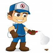 foto of toxic substance  - Cartoon illustration of a cute exterminator - JPG
