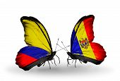 Two Butterflies With Flags On Wings As Symbol Of Relations Columbia And Moldova
