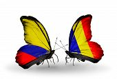 Two Butterflies With Flags On Wings As Symbol Of Relations Columbia And Chad, Romania