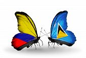 Two Butterflies With Flags On Wings As Symbol Of Relations Columbia And Saint Lucia