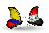 Two Butterflies With Flags On Wings As Symbol Of Relations Columbia And Syria