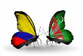 Two Butterflies With Flags On Wings As Symbol Of Relations Columbia And  Turkmenistan