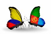 picture of eritrea  - Two butterflies with flags on wings as symbol of relations Columbia and Eritrea - JPG