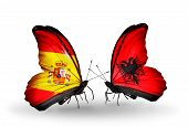 Two Butterflies With Flags On Wings As Symbol Of Relations Spain And Albania