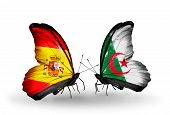 Two Butterflies With Flags On Wings As Symbol Of Relations Spain And Algeria