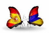 Two Butterflies With Flags On Wings As Symbol Of Relations Spain And Armenia