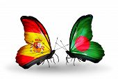 Two Butterflies With Flags On Wings As Symbol Of Relations Spain And Bangladesh
