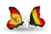Two Butterflies With Flags On Wings As Symbol Of Relations Spain And Belgium