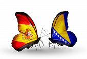 Two Butterflies With Flags On Wings As Symbol Of Relations Spain And Bosnia And Herzegovina