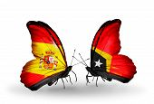 Two Butterflies With Flags On Wings As Symbol Of Relations Spain And East Timor