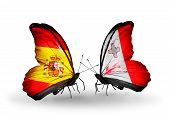 Two Butterflies With Flags On Wings As Symbol Of Relations Spain And Malta