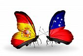 image of samoa  - Two butterflies with flags on wings as symbol of relations Spain and Samoa - JPG