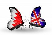 Two Butterflies With Flags On Wings As Symbol Of Relations Bahrain And Uk