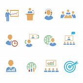 Set of colorful business people  strategic   icons showing  training  target  presentation  global