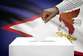 picture of samoa  - Ballot box with national flag on background  - JPG