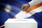 Ballot Box With National Flag On Background - Marshall Islands