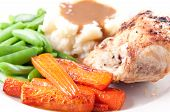 Roasted Chicken Breast With Mashed Potatoes, Gravy And Fresh Vegetables