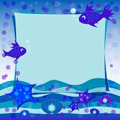 Children's Illustration With Label For Text. Under The Sea. Blue Color