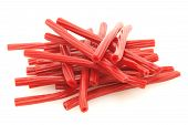 image of licorice  - many delicious sweet red licorice twist exquisite - JPG