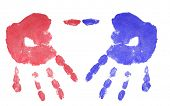 red and blue hand print isolated on white background