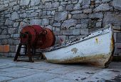 pic of old boat  - Old fishing Boat photographed at early Winter morning hours nearby Adriatic Sea - JPG