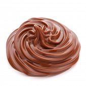 Chocolate cream swirl isolated on white background cutout