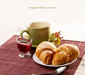 Breakfast with fresh croissants