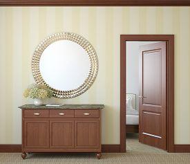 image of console-mirror  - Modern hallway with open door - JPG